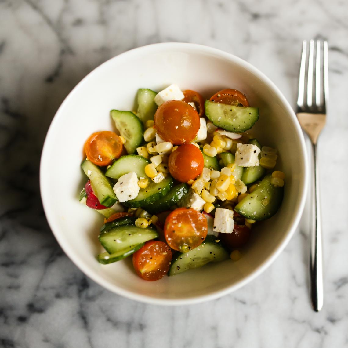 Sungold, Cucumber, and Corn Salad