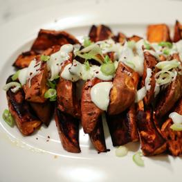 Roasted Sweet Potatoes with Yogurt Sauce